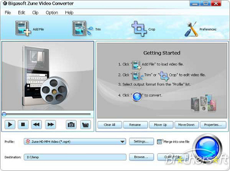 Bigasoft Zune Video Converter v2.5.0