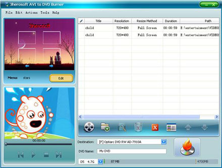 3herosoft AVI to DVD Burner v3.7.0